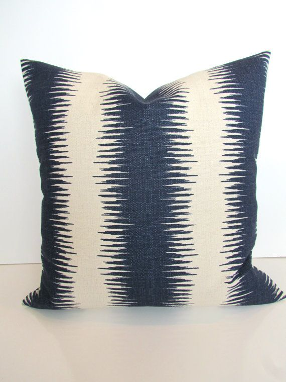 GET A WHOLE NEW LOOK JUST BY USING PILLOW COVERS! THE PILLOW COVERS CAN GO OVER A PILLOW INSERT OR YOUR EXISTING PILLOWS!  Add a FRESH NEW DESIGNER LOOK to any room with this pillow cover made for a 20 x20 inch pillow. It features a gorgeous STRIPED pattern in BLUE on a cream background. It is made up of 100% decorator weight textured woven cotton fabric.  * * * THIS LISTING IS FOR ONE PILLOW COVER. * * * The pillow insert is NOT included and can be purchased at Joann Fabrics. * The Printed…