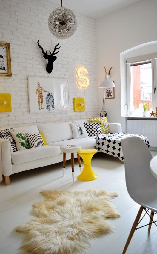 50 Most Popular Colorful Accent Ideas For Your Home  Yellow and grey living room ideas