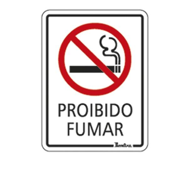 """Placa Autoadesiva em Poliestireno 20x15 cm """"Proibido Fumar"""""""