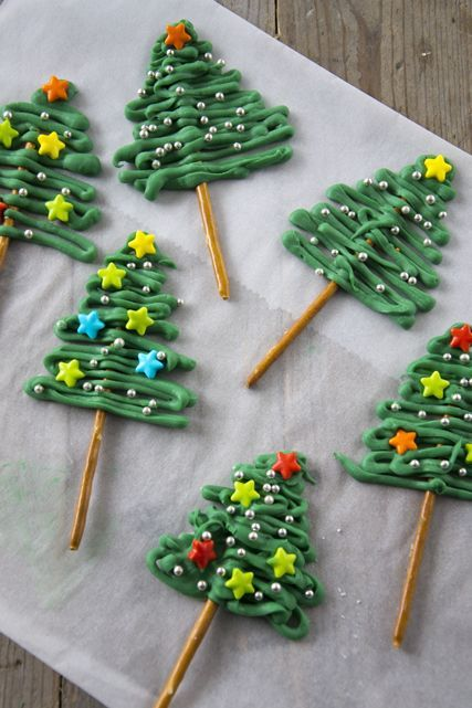 Isn't this fun? The 'tree' is made from candy melts, and you have to remember to apply the 'ornaments' while the trees are still soft. I am sure Emery would get a kick out of 'decorating' and later eating the trees!