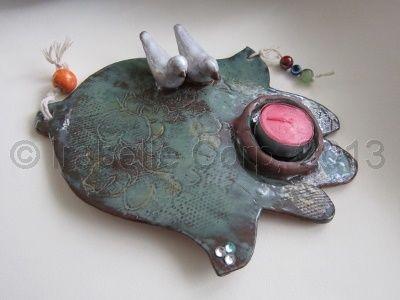 Hamseh Candle Holder/Wall Art  Handmade Pottery