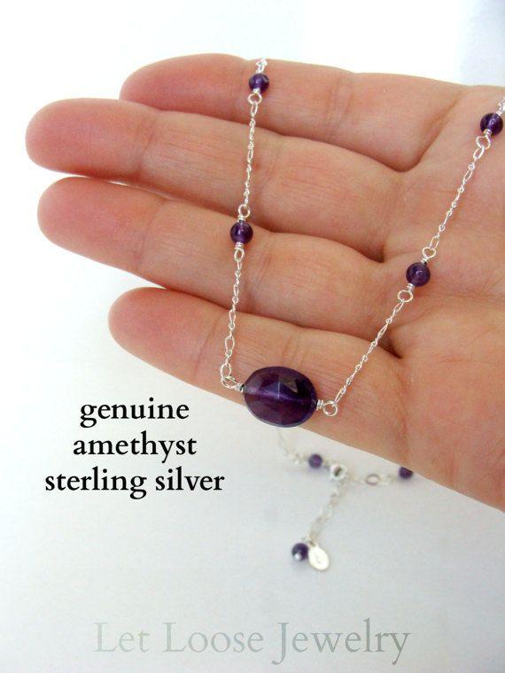 Collana di ametista autentica gemma viola argento Argentium