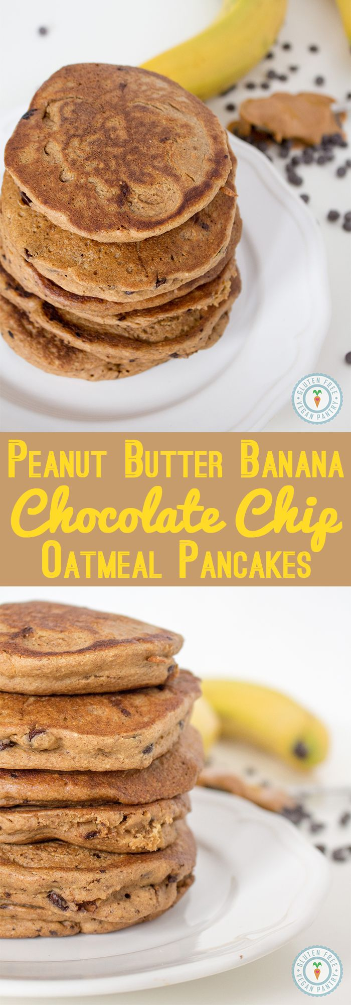 Vegan and Gluten Free, these Peanut Butter Banana Chocolate Chip Oatmeal Pancakes are a 5-star breakfast winner! glutenfreeveganpantry.com