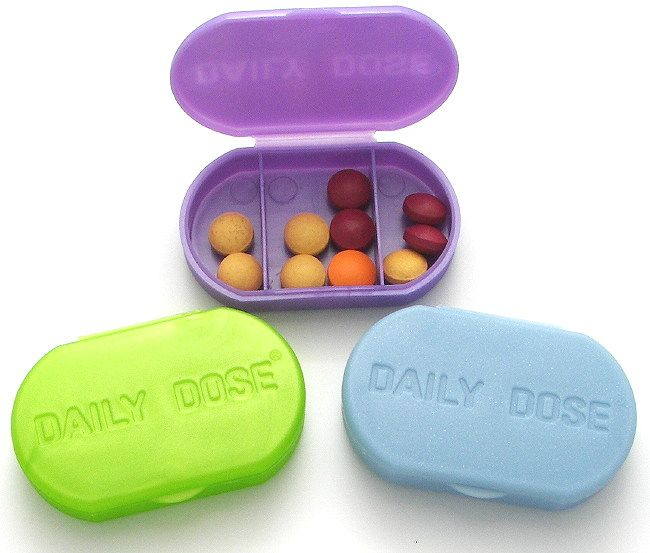 3 Compartment Daily Pill Box-Item 564. Pill boxes. grab a bunch of these and keep the pills in general in the bathroom… these are small, totable, just reach in and grab one