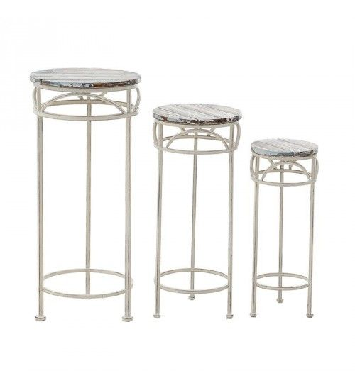 S_3 METAL_WOODEN FLOWER STAND IN WHITE COLOR
