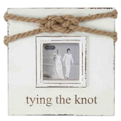 """Mud Pie® """"Tying the Knot"""" 3-Inch x 3-Inch Picture Frame - BedBathandBeyond.com"""