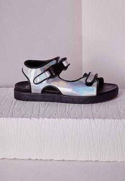 Velcro Gladiator Sandal Silver