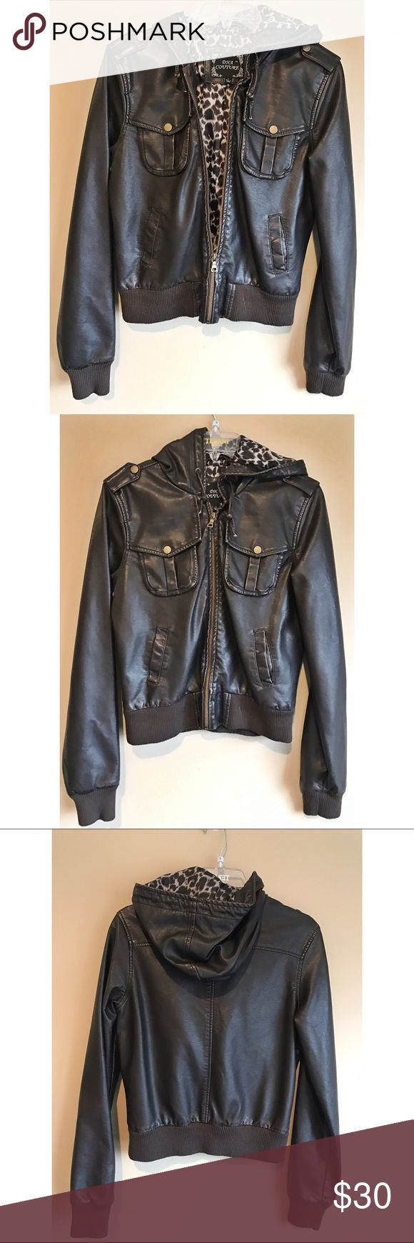 NWOT DNA Couture Leather Bomber Jacket NWOT DNA Couture Leather Bomber Jacket. Leopard print on the inside. Brand New Without Tags! Size large but fits more like a medium. DNA Couture Jackets & Coats