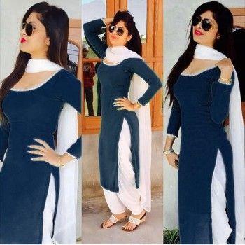 Velvet Plain Blue Unstitched Patiala Suit - A1050