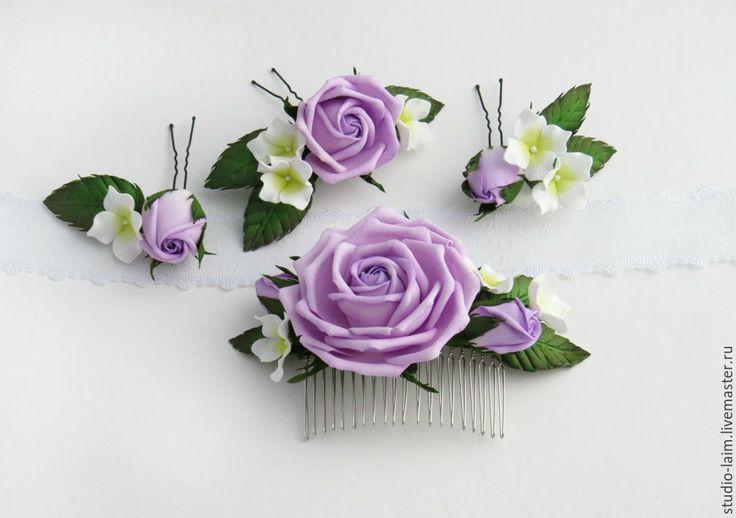 Купить Комплект на выпускной гребень и шпильки с цветами из фоамирана - украшения для волос, украшения для выпускного