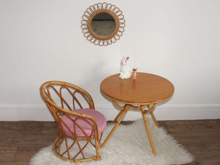 Ensemble table et fauteuil en rotin pour enfant-vintage des années 60