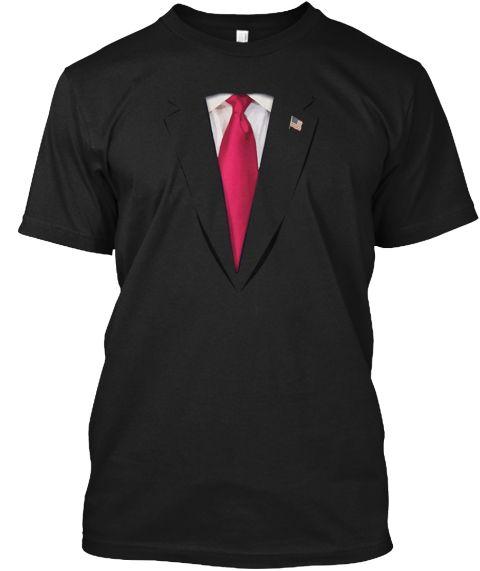 Usa President Trump Suit Shirt Halloween Black T-Shirt Front