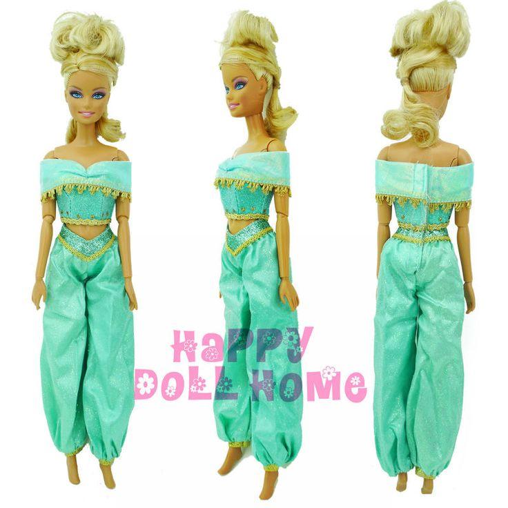 Сказка принцесса жасмин снаряжение вершины + брюки одежда для куклы барби аладдин лампа арабская костюм кукольный играть дома игрушки подарок