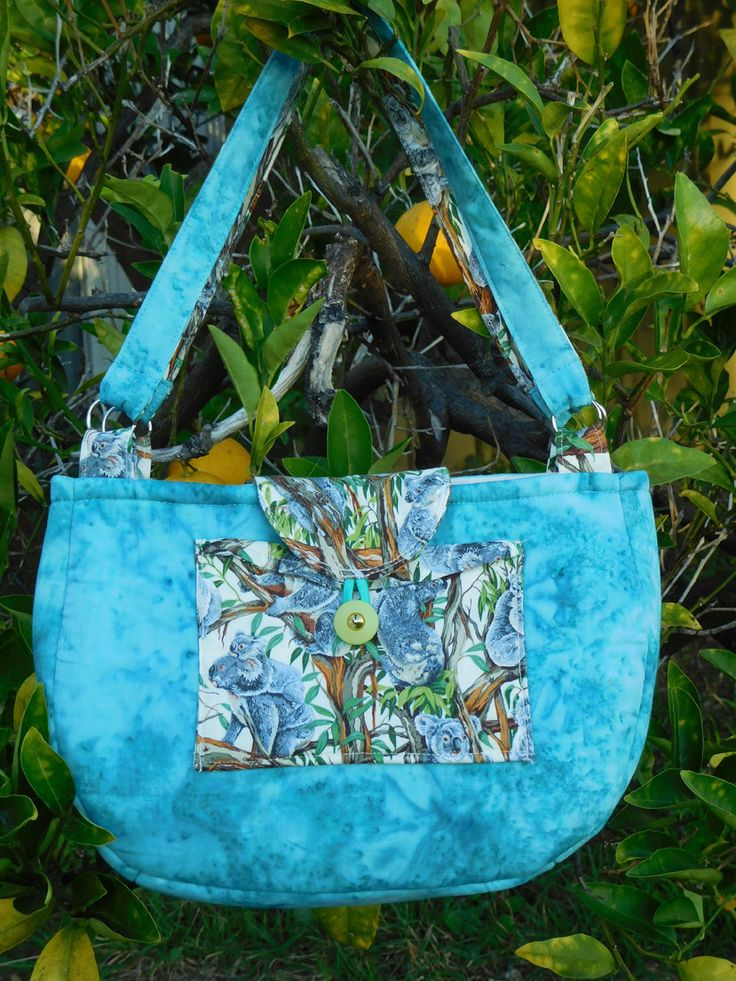 Handmade shoulder bag lined, Aussie koala front pocket by AnimalhouseQuilts on Etsy