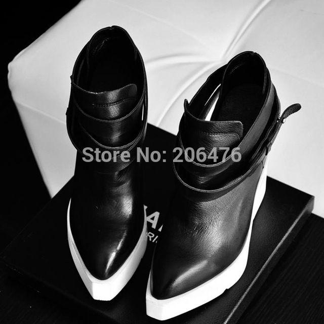 Véritable plate-forme en cuir cheville bottes de mode printemps et automne punk cool femmes de cales bout pointu chaussures à talons hauts