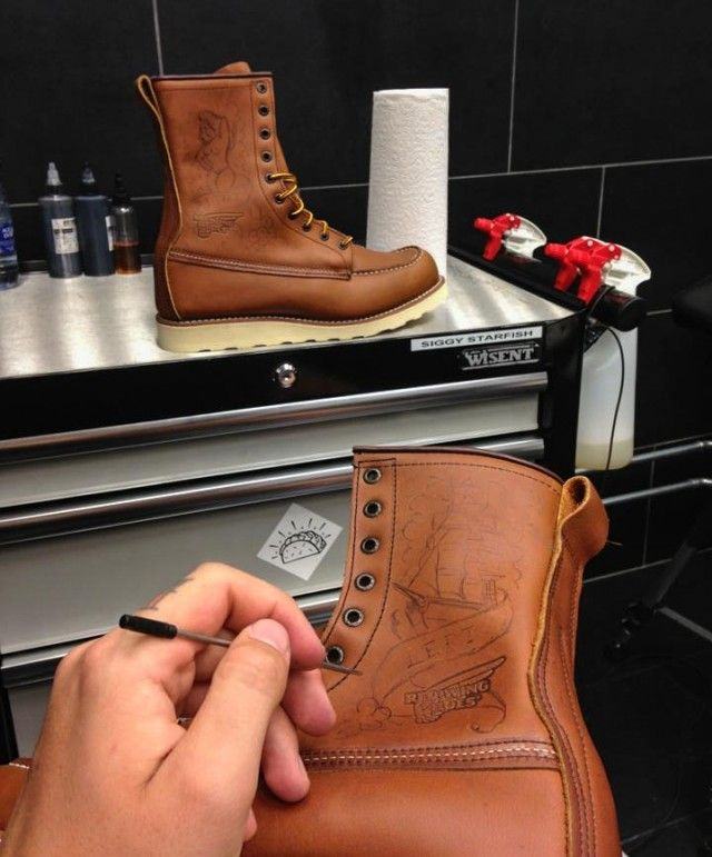 Ink and Cowhide: Customising a Red Wing 877 - Denimhunters