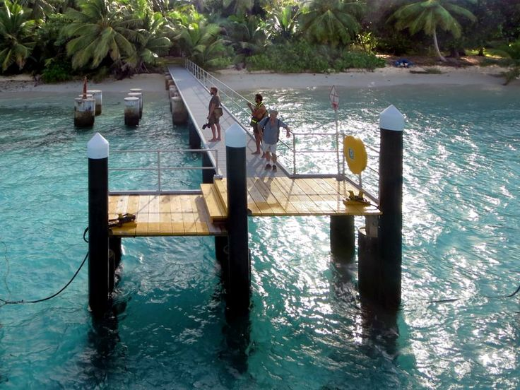 Twice a week the catamaran ferry Cahaya Baru ties up at this jetty on Direction Island, Cocos (Keeling) Islands.