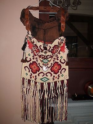 Lovely Handmade Goblin Boho Gypsy Jewelry Tassel Fringe Shoulder Handbag Purse