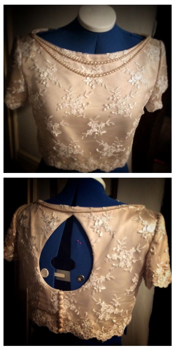 Vintage pearls on a beautiful gold and lace crop top for a wedding outfit, made to measure