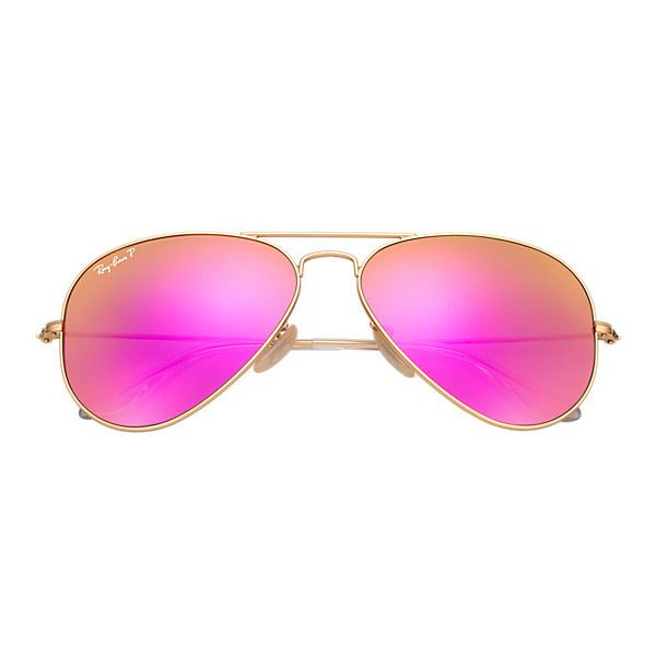 Ray-Ban Aviator Gold Sunglasses, Polarized Violet Flash Lenses -... ($200) ❤ liked on Polyvore featuring accessories, eyewear, sunglasses, gold lens aviators, mirrored lens sunglasses, aviator sunglasses, gold sunglasses and ray ban sunglasses