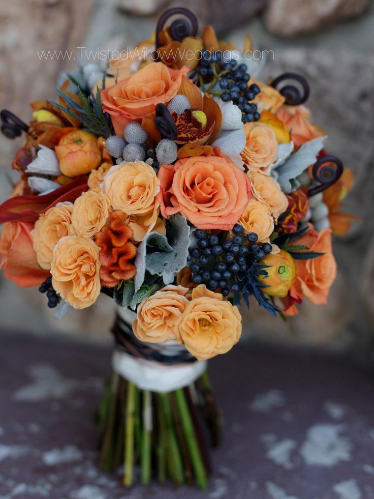 Navy Orange and Grey Bridal Bouquet with textured flowers.    www.twistedwillowweddings.com