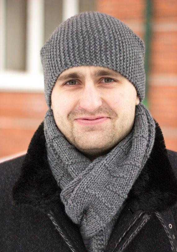 Hand knit beanie with scarf Men's knit hat Merino by MarooSocks