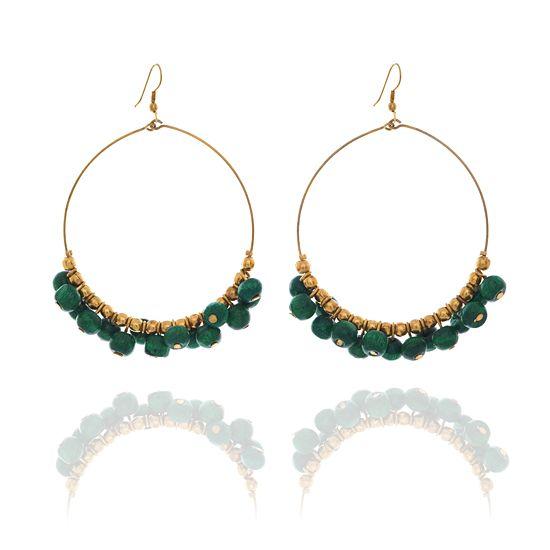 Look East Apple Blossom Beaded Pierced Hoop Earrings - Green