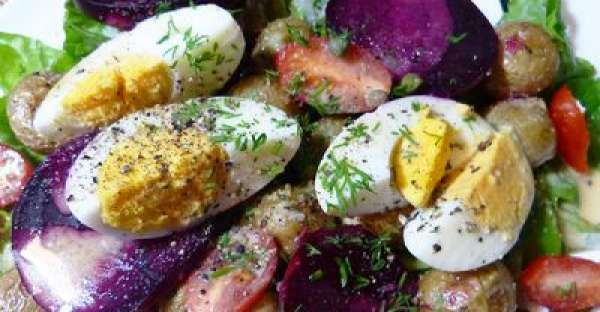 Grandmothers Nicoise Salad Ingredients Salad 4 medium beets 15-20 baby potatoes, washed 1/2 cup olive oil salt and pepper 1/2 cup grated Parmesan (or Asiago cheese) 4 eggs 10 baby tomatoes, halved 4 cups greens (baby spinach, lettuce, or any kind of greens) 2 Tablespoons capers Black olive, for garnish Maple Mustard Balsamic Dressing 1/4 cup olive oil 1/4 cup balsamic vinegar 1 Tablespoon maple syrup 1 teaspoon Dijon mustard 1 teaspoon mayonnaise (or plain yogurt) 1 tsp dried thyme 1/4 tsp…