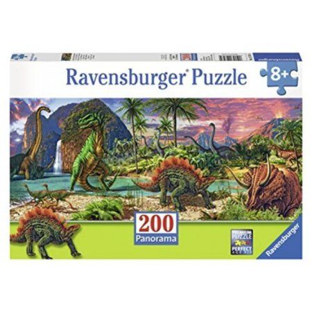 Ravensburger In the Land of the Dinosaurs Panorama Puzzle (200 Piece), Multicolor