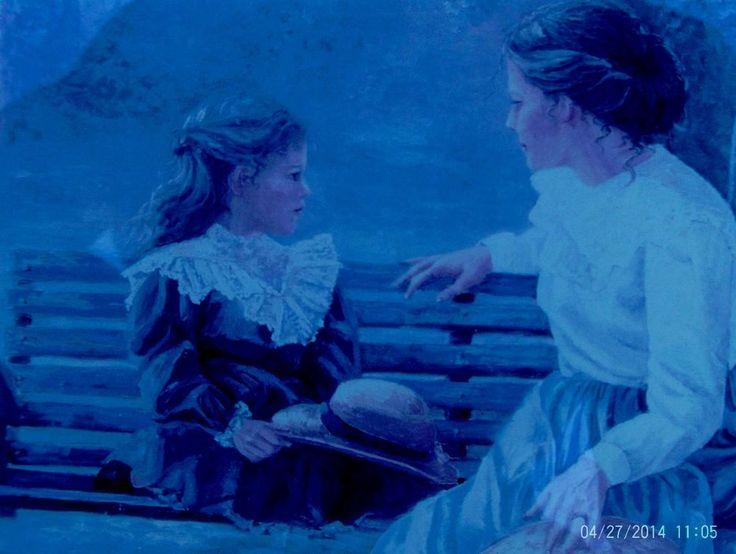 Victorian Artwork Mother & Daughter On Swing Home Interior Signed Bettie Felder