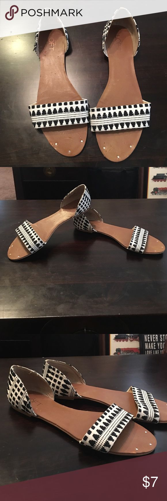 Loft black and white sandals! Super comfortable and in great shape! LOFT Shoes Sandals