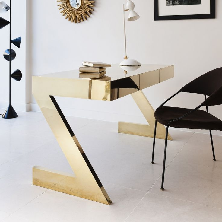 Black and Gold luxury modern office | Find more luxury unique desks for your office in www.bocadolobo.co…