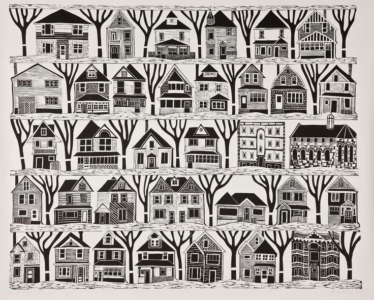 Miriam Rudolph Winnipeg Neighbourhood II, 2010 Linocut print on paper, edition of 50, 31 1/2″ x 39 1/4″