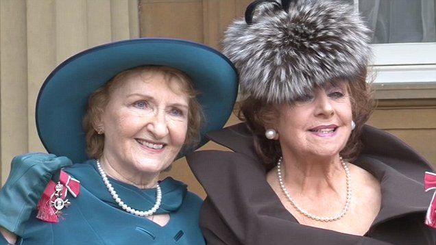 Coronation Street stars Barbara Knox and Eileen Derbyshire were made MBEs at Buckingham Palace.
