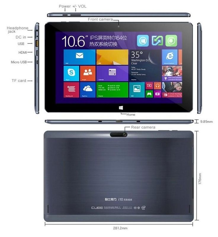 "Cube i10 10.6"" Windows 10 & Android Tablet PC 2GB/32GB Quad Core HDMI -- BuyinCoins.com"