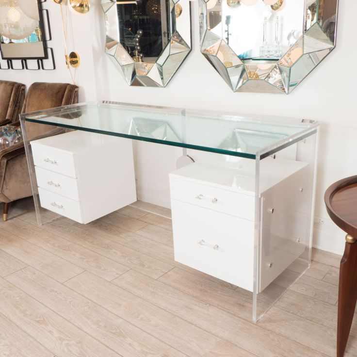 Beautiful White Glass Desk With Hanging Lacquered Drawers Cool Design