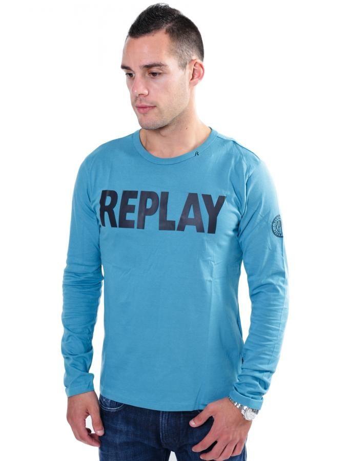 REPLAY Πετρόλ μπλούζα, ανοιχτή λαιμόκοψη