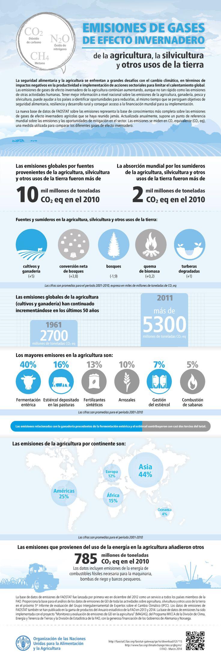 Tecnología y Mercado | Infografía sobre la emisión de gases invernadero derivados de la agricultura y el uso de la tierra - Tecnología y Mercado