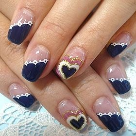 Pinned by www.SimpleNailArtTips.com - NAIL ART DESIGN IDEAS Romantic navy blue nail art.