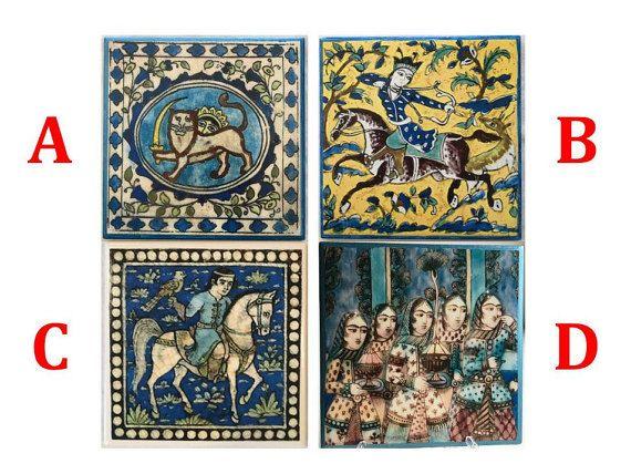 Square Decoupaged Tiles Depicting Ancient Persian Qajar Era
