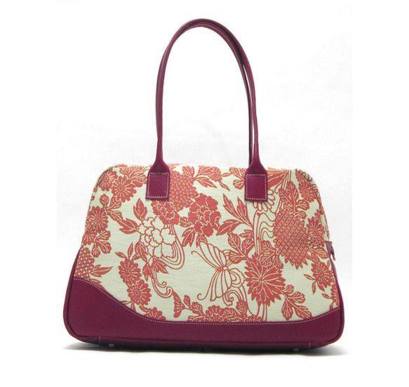 着物と革のボストンバッグ【デイリー】 和柄:あかびょうぶ / A4ファイルが入る,毎日の通勤・通学バッグ,旅行バッグ