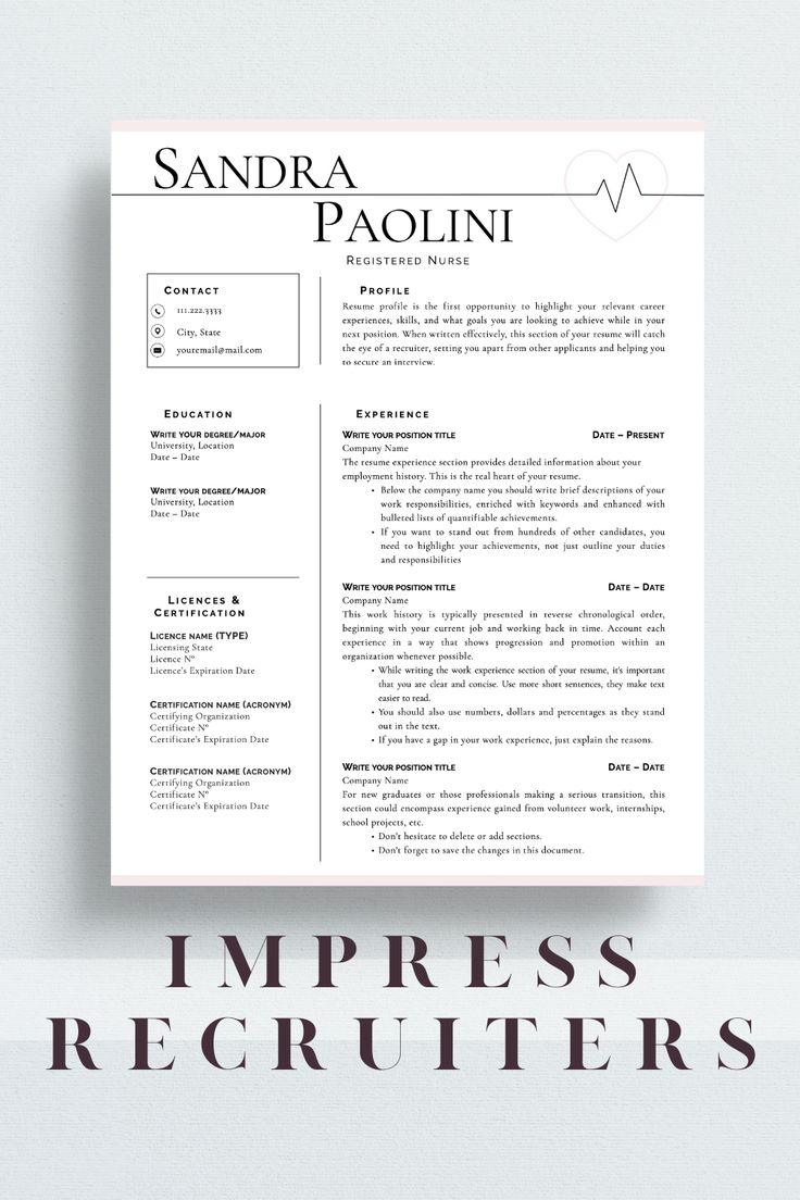 Nurse Resume Template, Registered Nurse Resume Template