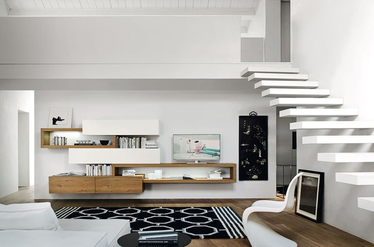 Moderne TV Wohnwand von Sangiacomo Italien. - Holz Lackl Design