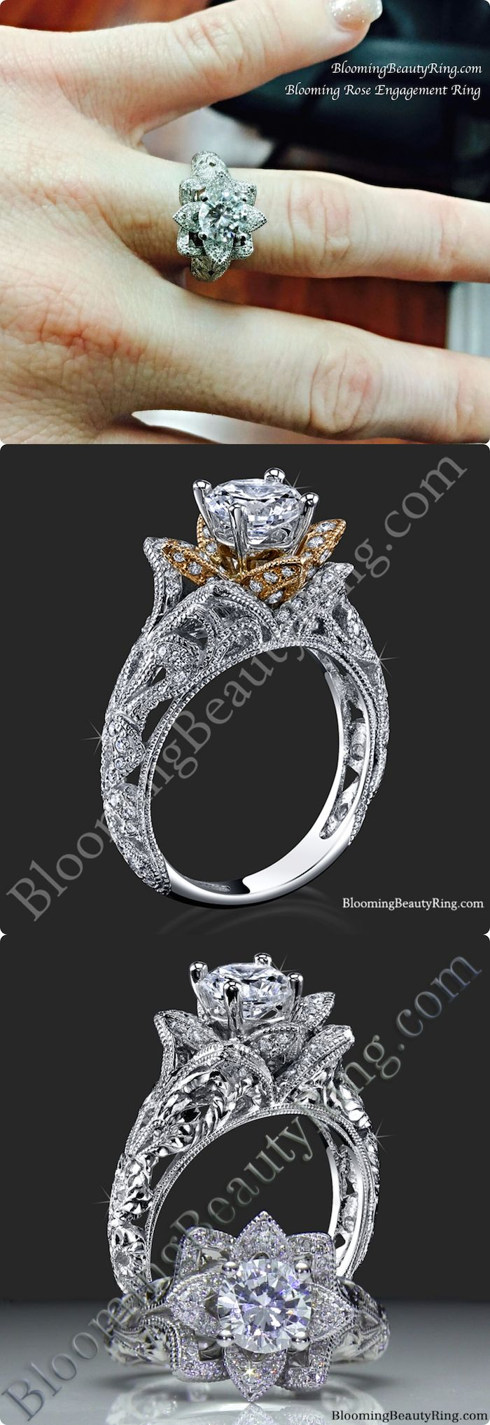rose lotus wedding flower engraved ring rings engagement unique