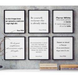 Serie di 6 poster 30x40 cm. con aforismi di Oscar Wilde