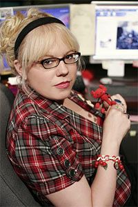 Kirsten Vangsness aka Garcia <3 I love it all from the pattern of the shirt, to the hair, to the pen...