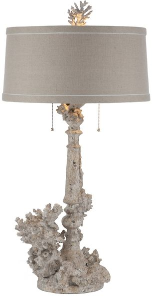 Coral Lamp Set Item Id: AG-L160  If you like shabby chic then you will love Aidan Gray. Round slim line dark linen shade. Sold as a set of two fir $900 30.5t x 15w x 15 d