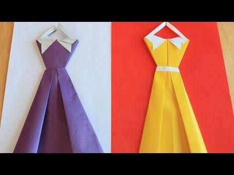 Оригами открытка - платье - YouTube                                                                                                                                                                                 More