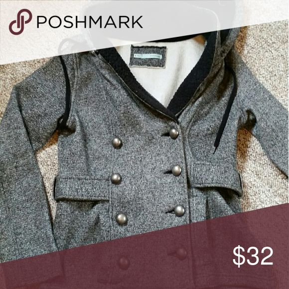 Black and white fall peacoat Soft, sweatshirt material, black and white peacoat with removable hood and silver buttons. Maurices Jackets & Coats Pea Coats