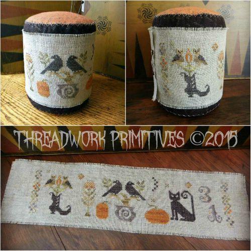 Primitive Cross Stitch Pattern  Halloween by threadworkprimitives
